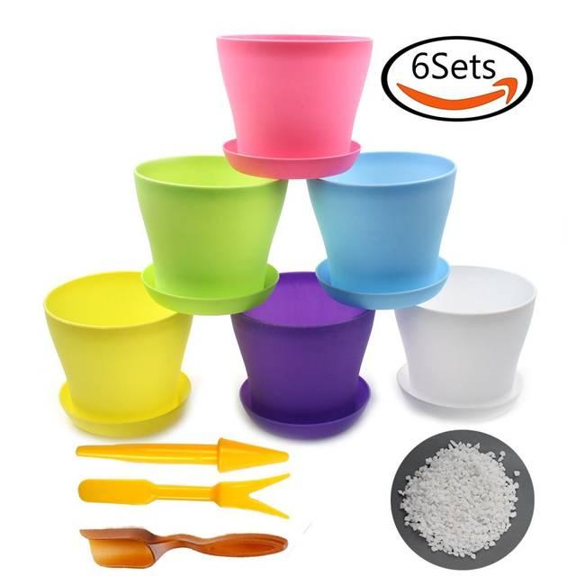 Whonline 6色セットプラスチック植木鉢(受皿付き)