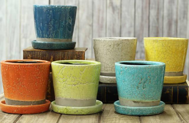 貫入加工・ポップ&JUNK風 カラー陶器鉢